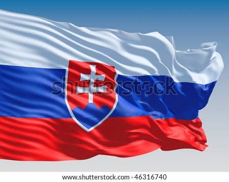 Slovakia flag flying on clear sky background. - stock photo