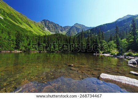 Slovakia mountain lake - Rohacske plesa, West Tatras - stock photo