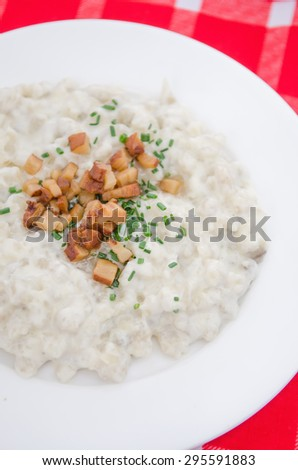 Slovakia national traditional food - halusky with bryndza sheep cheese and bacon, which is potato dough dumpling, similar gnocchi(Slovakian cuisine) - stock photo