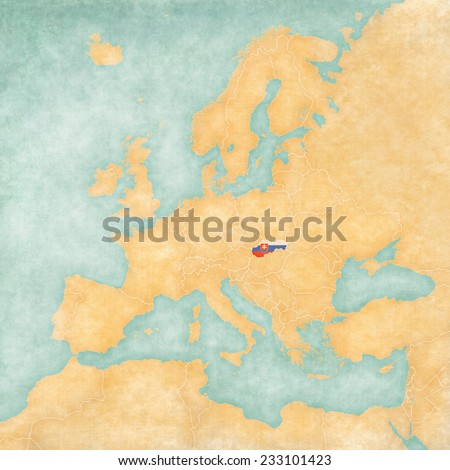 Slovakia (Slovak flag) on the map of Europe. The Map is in vintage summer style and sunny mood. The map has a soft grunge and vintage atmosphere, which acts as watercolor painting on old paper.  - stock photo
