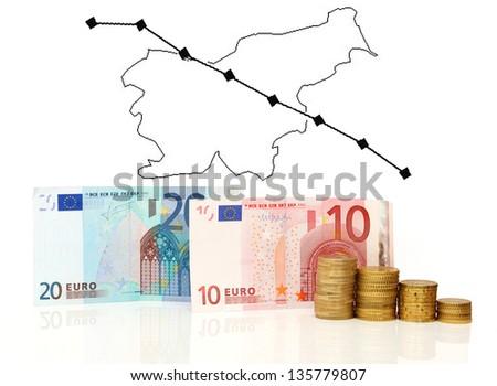Slovenia crisis chart - stock photo