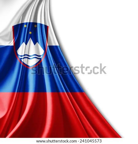 Slovenia flag and white background - stock photo