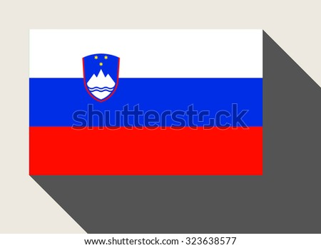 Slovenia flag in flat web design style. - stock photo