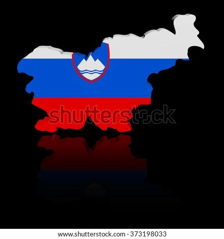 Slovenia map flag with reflection illustration - stock photo