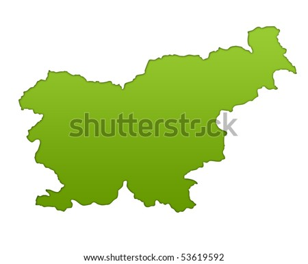 Slovenia map in gradient green, isolated on white background. - stock photo