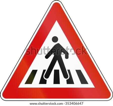 Slovenia road sign - Pedestrian crossing. - stock photo