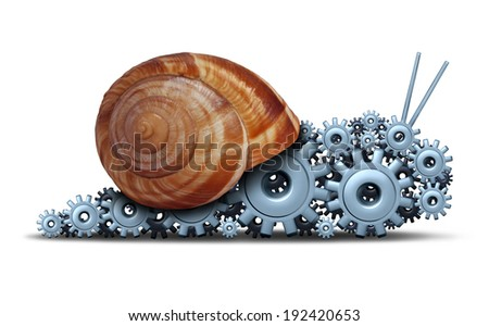 Slow Business concept as a snail shaped as a group of gears and cogs as a financial motor metaphor for sluggish progress technology and delays or economic engine progress on a white background. - stock photo