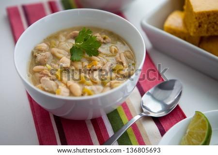 Slow Cooker White Chicken Chili - stock photo