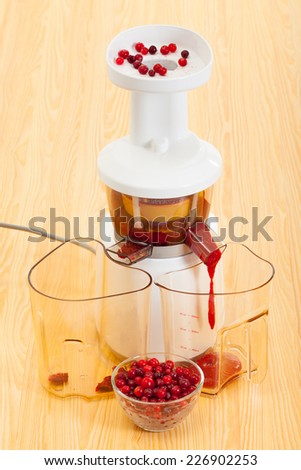 slow juicer and cranberry juice - stock photo