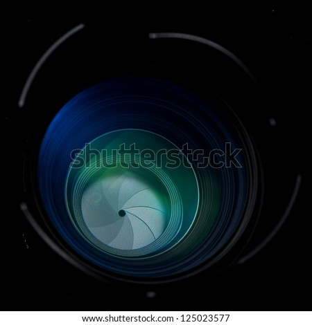 SLR Camera Lens front side exposed aperture blades - stock photo