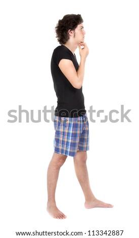 Sluggish boy thinking - stock photo