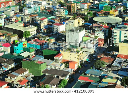 Slums of Makati city - is one of the 17 cities that make up Metro Manila. Philippines - stock photo