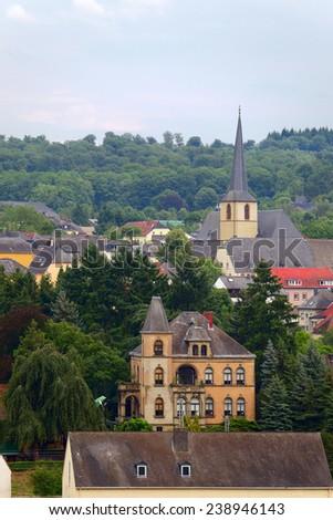 Smal city Saarburg, Rheinland-Pfalz, Germany, summer - stock photo