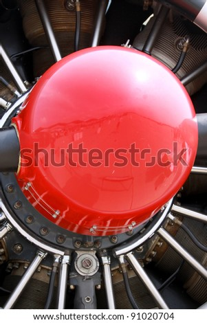 Small air plane jet engine propeller details - stock photo