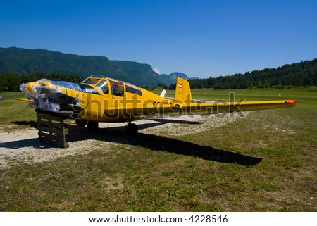 Small airplane at the airshow - stock photo