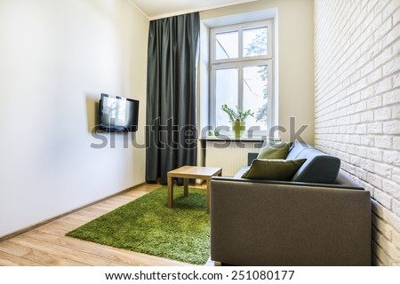 Small and cozy living room with green carpet - stock photo