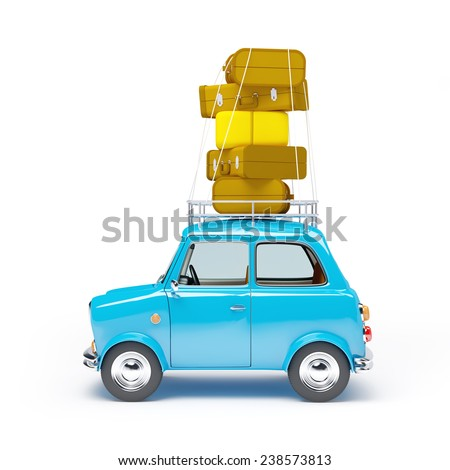 small and cute blue retro travel car, side view with luggage on white background - stock photo