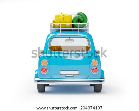 small and cute blue retro trip car, back view with luggage on white background - stock photo