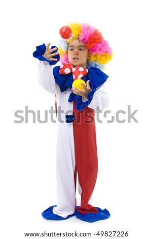 Small and happy clown holding two balls. - stock photo