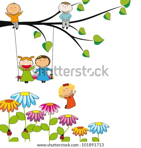 Small and happy kids  in colorful garden - stock photo