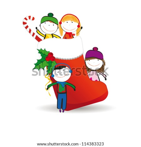 Small and happy kids in winter with christmas icon - stock photo