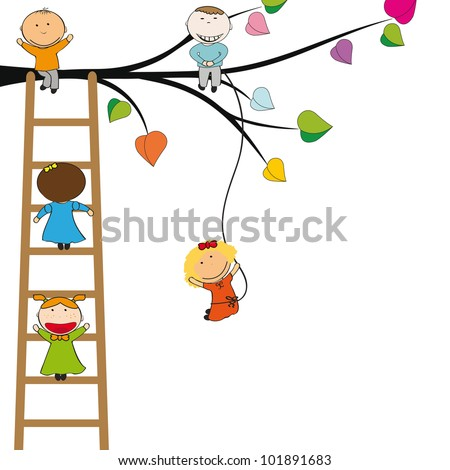 Small and happy kids on colorful tree - stock photo