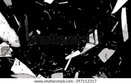 Small and large pieces of shattered black glass isolated on black - stock photo