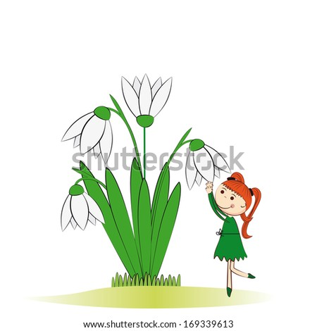 Small and smile girl in spring garden - stock photo