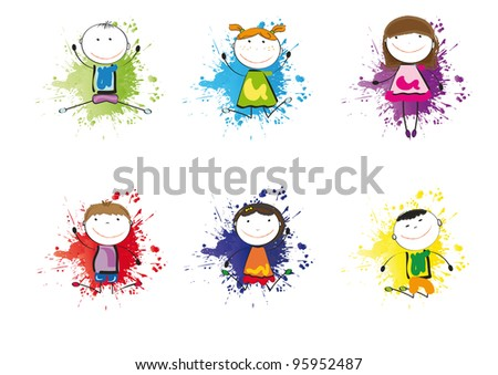 Small and smile kids playing and dancing - stock photo
