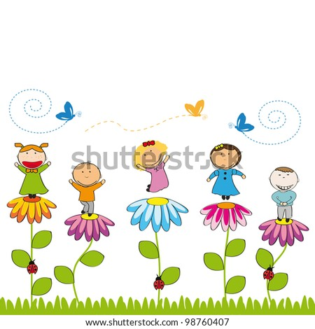 Small and smile kids with flowers in garden - stock photo