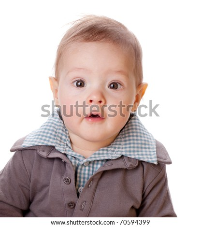 Small baby portrait. Isolated on white background - stock photo
