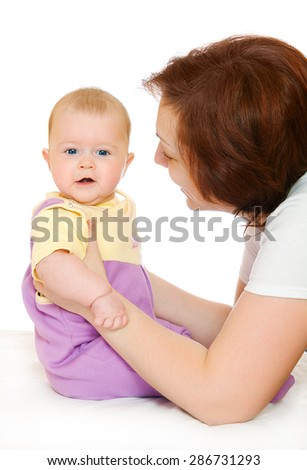 Small baby with mother isolated - stock photo