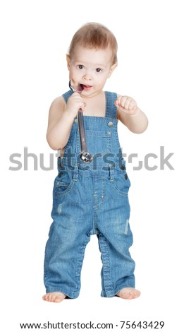 Small baby worker with spanner wrench. Isolated on white - stock photo