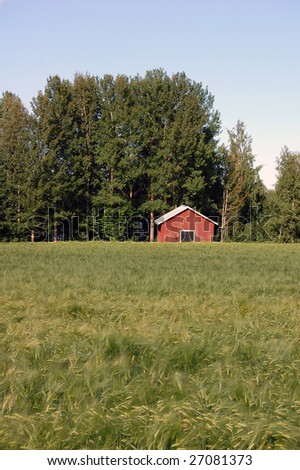small barn on a field - stock photo