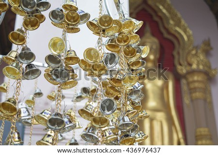 Small bell in Thailand Temple, Bell in Buddhism - stock photo