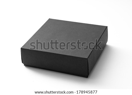 Small black box isolated on white - stock photo