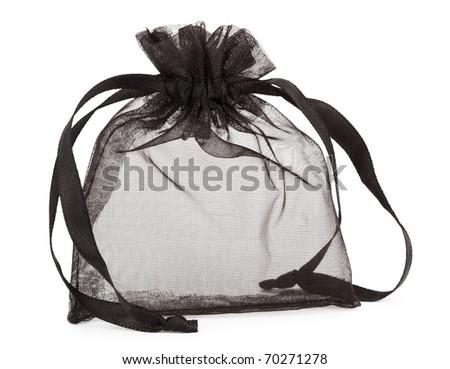 Small black gauze present bag isolated on white - stock photo
