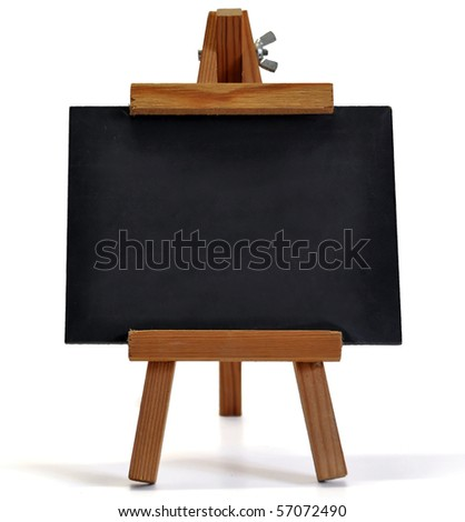 Small blackboard on easel with large space for your copy text (announcement, offer, menu) - stock photo