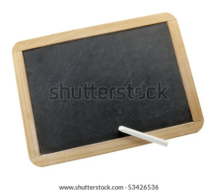 Small blank chalkboard with white stick of chalk shot on white background, with space for copy on board. - stock photo