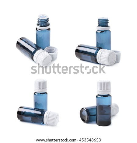 Small blue glass flask vial, composition isolated over the white background, set of four different foreshortenings - stock photo