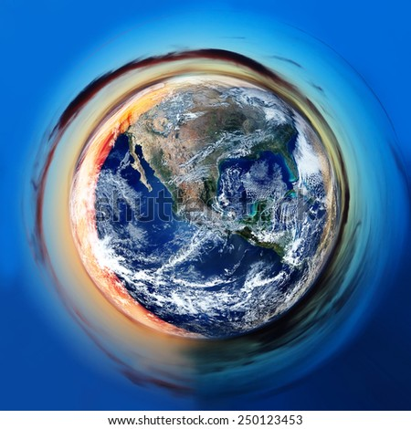 small blue planet, aerial view, stereographic abstract global and environmental background- elements of this image furnished by NASA - stock photo