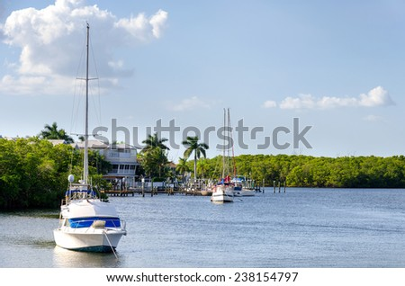 Small boats in the small palm bay - stock photo