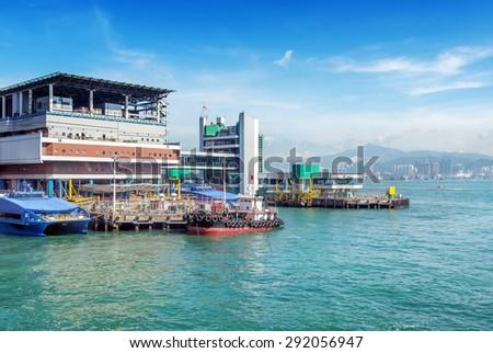 Small boats moored in Hong Kong - stock photo