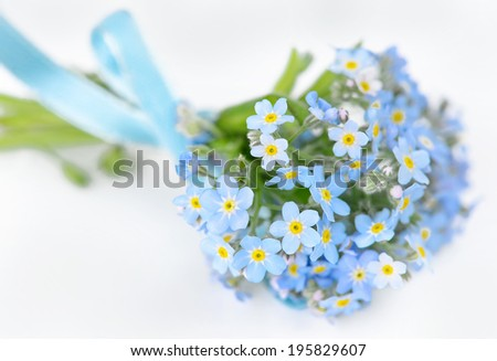 Small bouquet of blue forget-me-not, tied a blue ribbon, on a light background, selective focus - stock photo