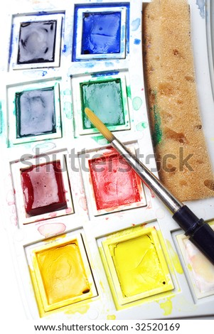 Small box of artist quality watercolors - stock photo