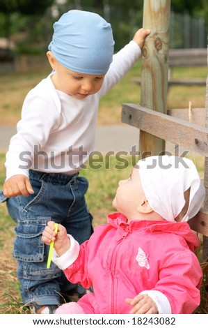 small boy and girl - stock photo