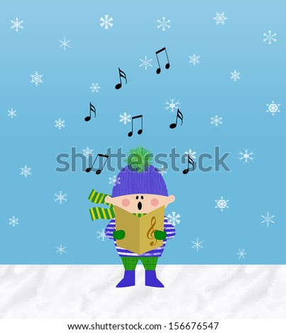 Small boy singing from a songbook outdoors in the snow - stock photo