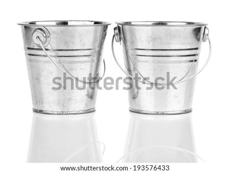 small bucket, on white background - stock photo