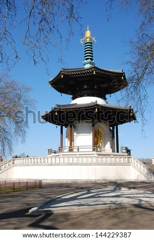 Small Buddha Temple in London, Batersea park - stock photo