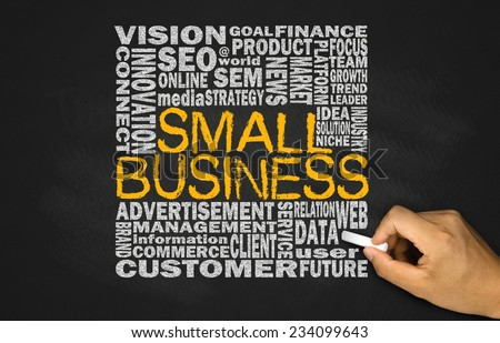small business concept on blackboard  - stock photo